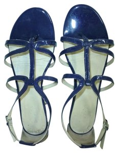 Boden Lacquered Leather T-bar Flats Navy Sandals