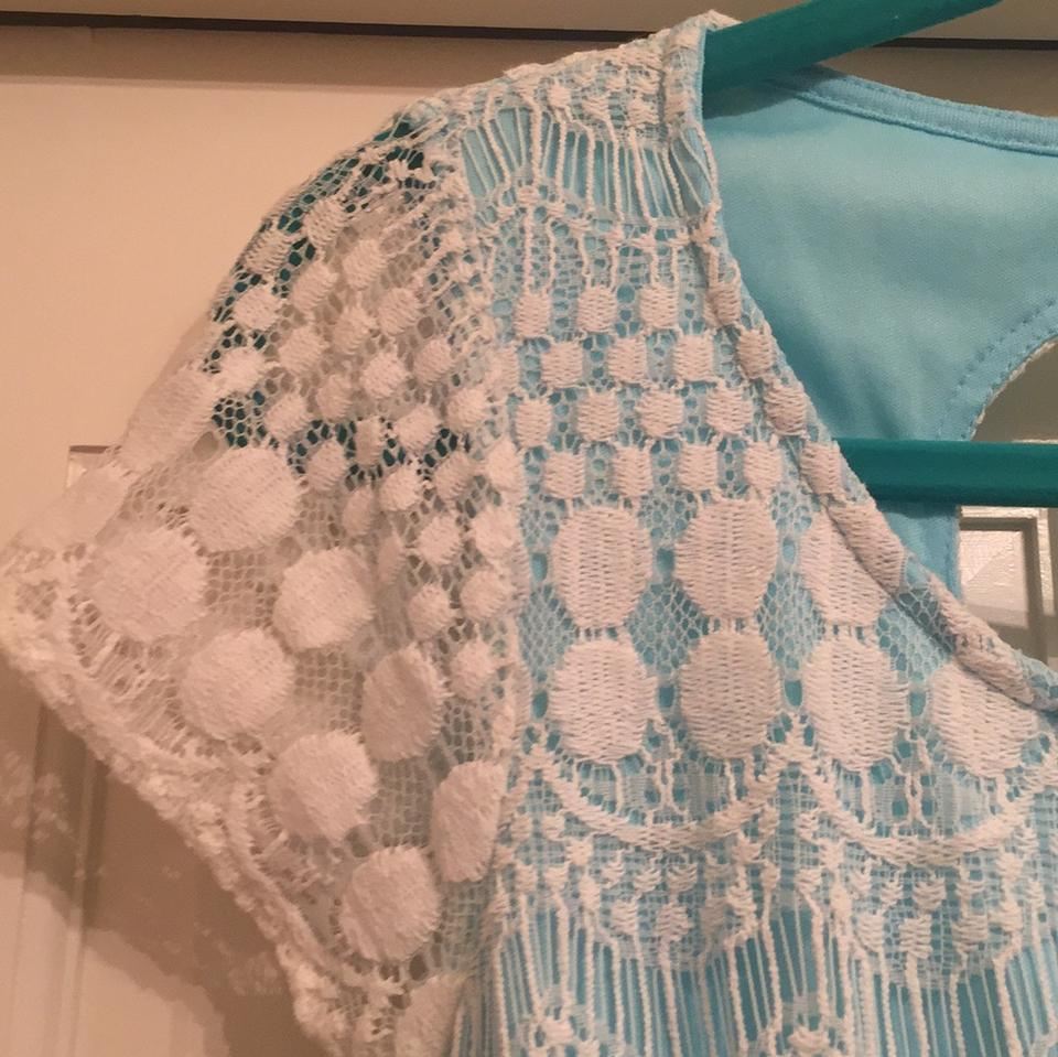 Altar D State Wedding: Altar'd State Light Blue And White Cap Sleeve Lace Dress