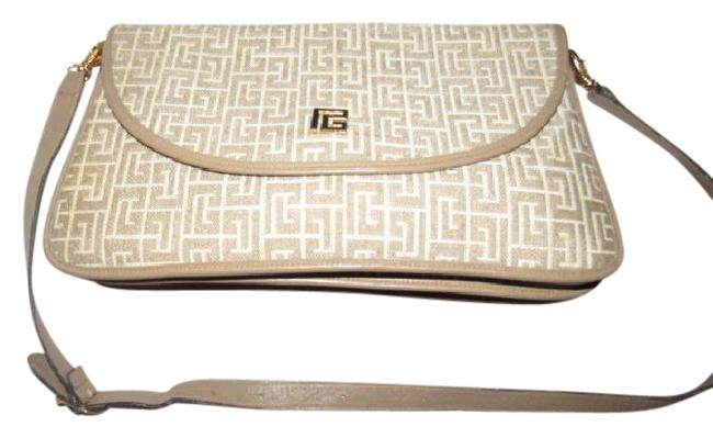 Item - Vintage Pierre Purses/Designer Purses Tan & White Geometric 'subway' Print Fabric & Tan Leather Shoulder Bag