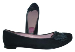 Lilly Pulitzer Suede Leather Flower Ballet Black Flats