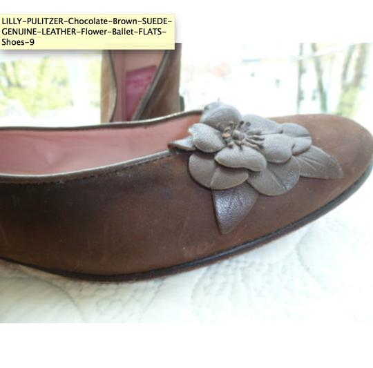 Lilly Pulitzer Suede Leather Ballet Flower Brown Flats