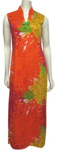 orange yellow green multi Maxi Dress by Liberty House Vintage Kiyomi Xs 4 Long Maxi 2 Floral Hawaiian Aloha Sleeveless
