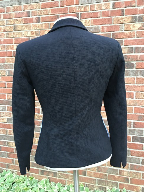 Garfield & Marks Zipper Silver Long Sleeve Cotton Notched Collar Petite Black and white Blazer