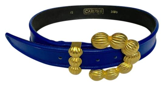 Preload https://img-static.tradesy.com/item/21370735/carlisle-gold-tone-buckle-blue-leather-xs-belt-0-2-540-540.jpg