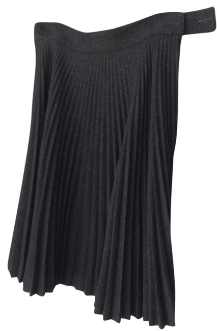 Emmanuelle Khanh Paris Wool Zipper Pleats Skirt charcoal grey
