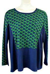 Ashley Stewart Geometric Pullover Long Sleeves Plus-size Top Navy Blue/Green