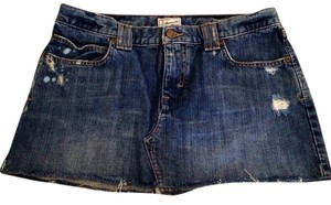 Abercrombie & Fitch Denim Cutoff Mini Skirt distressed denim