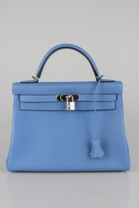 Hermès Blue Clemence Leather Kelly Shoulder Bag