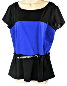 The Limited Color Block Belted Peplum Top Blue/Black
