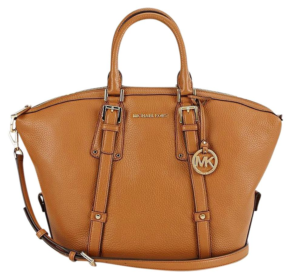 0b15ed417837 ... italy michael michael kors bedford belted medium pebbled leather  shoulder satchel in acorn e4d57 0d402