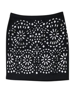 G2000 Cut-out Mini Pencil Floral Bohemian Mini Skirt Black