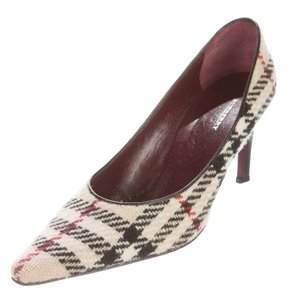 Burberry Pointed Toe Beat Nova Check Plaid Woven Beige, Black, Red Pumps