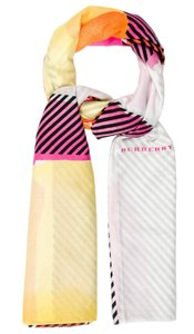 Burberry Pink, red multicolor Burberry plaid monogram cotton oversized scarf