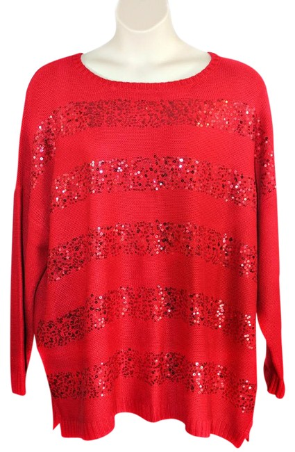 Preload https://img-static.tradesy.com/item/21371018/avenue-new-with-tags-stretchable-sequin-size-2628-3x-red-sweater-0-1-650-650.jpg