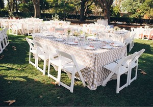 90x132 Chevron White And Champagne Sparkly Tablecloth