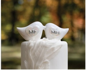 Porcelain Love Birds For Newlywed Ceremony Cake Topper