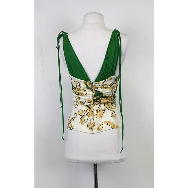 Just Cavalli Printed Top Green & White