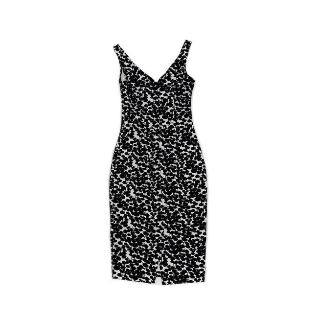 Bettie Paige short dress Black & White Leaves Bodycon on Tradesy