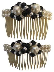 Faux Pearl, Onyx and Carved Silver Beads; Duo Hair Comb Accessories [ Roxanne Anjou Closet ]