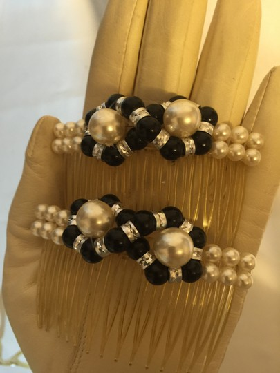 Other Faux Pearl, Onyx and Carved Silver Beads; Duo Hair Comb Accessories [ Roxanne Anjou Closet ]