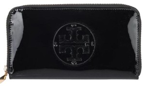 Tory Burch Stacked Patent Leather Zip Continental Wallet Black