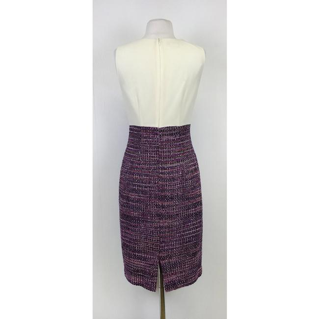 Kay Unger short dress Cream & Purple White Fitted on Tradesy