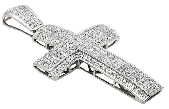 Preload https://img-static.tradesy.com/item/21371381/10k-white-gold-pave-3d-genuine-diamond-cross-pendant-12ct-23-charm-0-1-540-540.jpg