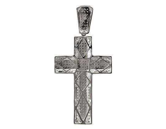 Other 10K White Gold Pave 3D Genuine Diamond Cross Charm Pendant 1.2ct 2.3