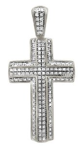 Other Unisex Pave 3D Genuine Diamond Cross Charm Pendant .65ct 1.75