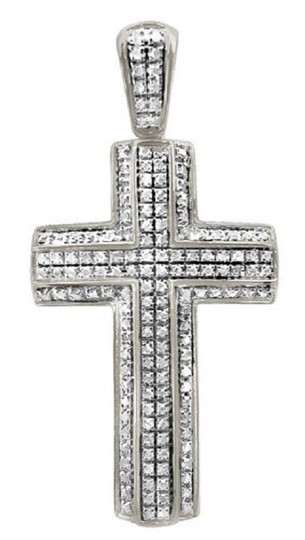 Preload https://img-static.tradesy.com/item/21371400/10k-white-gold-unisex-pave-3d-genuine-diamond-cross-pendant-65ct-175-charm-0-0-540-540.jpg