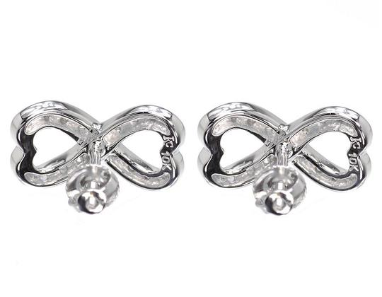 Other Ladies Round Diamond Infinity Knot Heart Studs Earrings 0.25ct