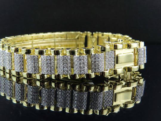 Other Mens 17MM Railroad Style Real Diamond Bracelet 10.35 ct 9 Inch