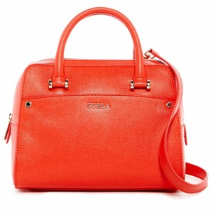 Furla Margot Orange Leather Rolled Handles Satchel