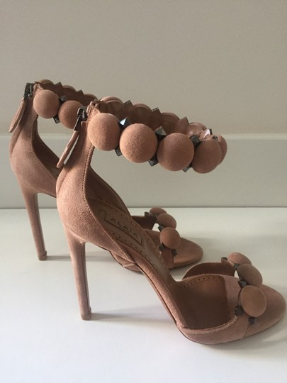 ALAA Studded Suede New nude Sandals