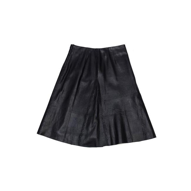 Margaret Godfrey Leather Flared Skirt Black