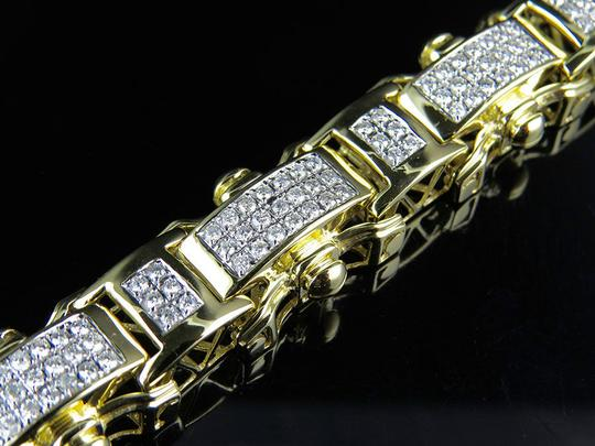 Other Mens 17MM Railroad Style Real Diamond Bracelet 6.37 ct 8.5 Inch