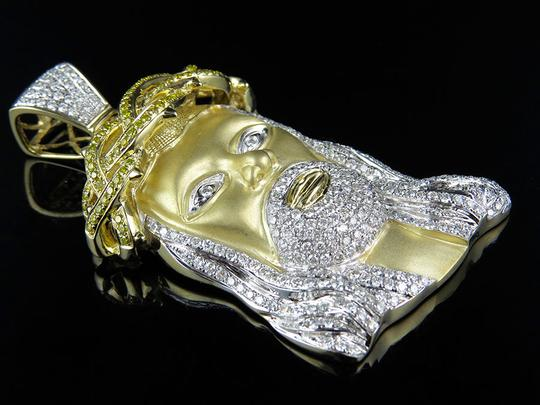 Other Mens Jesus Face Piece Genuine Diamond 2.5 Inch Pendant Charm 7.3ct.