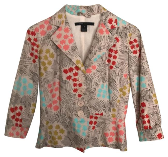 Marc Jacobs cream red pink black turquoise print Blazer