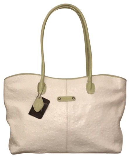 Preload https://img-static.tradesy.com/item/21371701/i-santi-new-embossed-white-green-ostrich-leather-tote-0-1-540-540.jpg