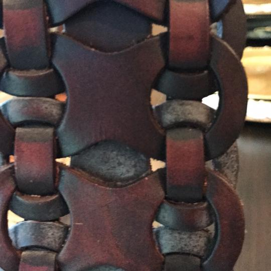 Brown Leather brown leather braided wide belt