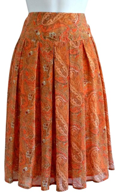 Preload https://img-static.tradesy.com/item/21371809/evan-picone-orange-coral-paisley-pleated-midi-skirt-size-12-l-32-33-0-1-650-650.jpg