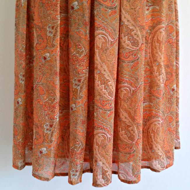Evan Picone Pleats Pleated Coral Paisley Printed Skirt Orange