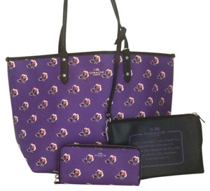 Coach New With Tags Nwt Set Tote in Purple Print