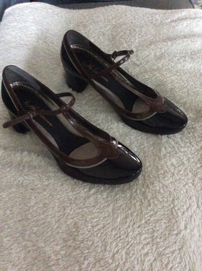 Oh! (Healthy Heels) Mary Jane Leather Patent Leather Comfortable Black & Brown Pumps