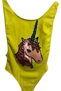 American Apparel Unicorn Festival Bodysuit Neon Top yellow