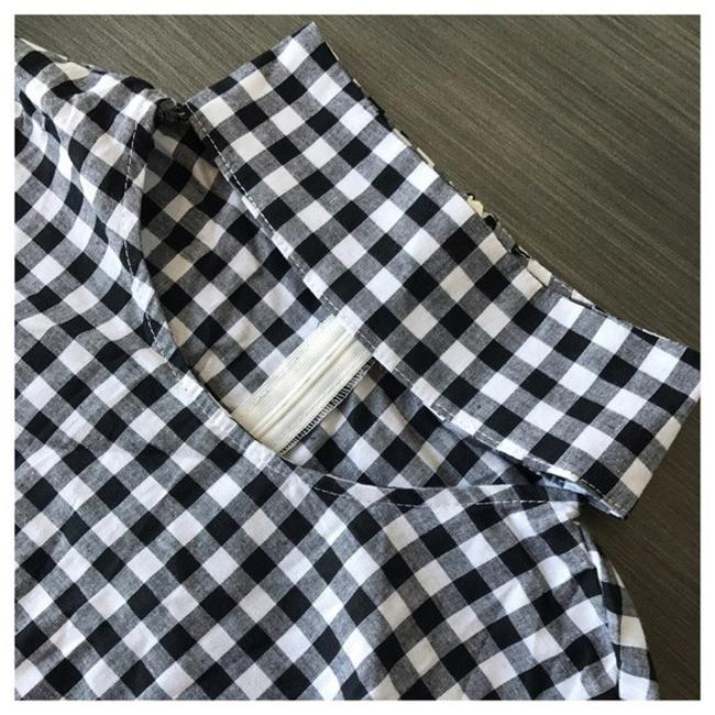 Other Check Open Neck Ruffle Top Black & White