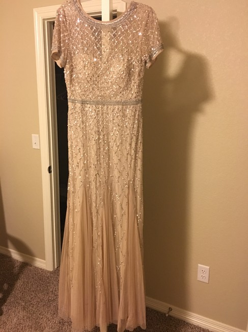 Item - Champagne Cap Sleeve Beaded Gown Vintage Bridesmaid/Mob Dress Size 10 (M)