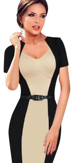 Preload https://img-static.tradesy.com/item/21372469/black-and-beige-women-s-elegant-vintage-optical-illusion-pinup-tunic-belted-party-pencil-sheath-mid-0-1-650-650.jpg