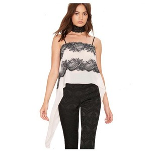 Other Eyelash Lace Tuxedo Top Off White