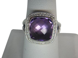 David Yurman 11mm Albion Ring with Amethyst and Diamonds size 8